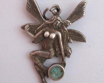Vintage Art Nouveau Fairy with Turquoise Inlay Sterling Charm or Pendant - 925 silver -  Fairy Charm