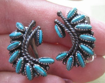 60s Leaf Shaped Clip On Earrings with Faux Turquoise Navette Cabochons