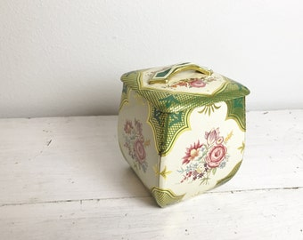Vintage Floral Metal Canister Tin with Lid- Made in West Germany