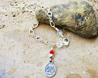 Zodiac Scales of Justice Bracelet - Sterling Silver - Hand-wired - Beautiful - Libra