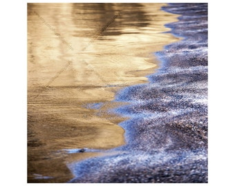 Gold and Blue Beach, Fine Art Photo Wrapped Canvas Print, Square Beach Square Wall Art