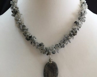 Hand Made Crocheted Necklace with Rutilated Quartz with Pendant.