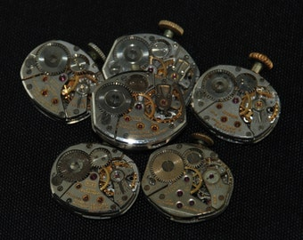 6 Vintage Watch Movements Parts Steampunk Altered Art Assemblage CD 94