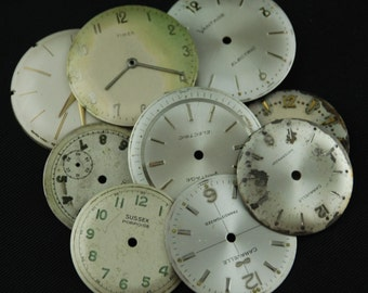 Vintage Antique Watch Dials Steampunk  Faces Parts Altered Art Industrial O 50