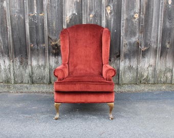 Rich Red Velvet Wingback Armchair Chair