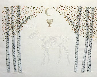 Ritual Burial: Stag, Hand Embroidery Art