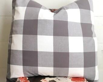 """XL grey & white checked cotton pillow cover 24"""" x 24"""" / modern/ farmhouse / buffalo check"""