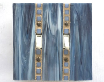 Blue Switch Plate, Decorative Wall Switch Plates, Stained Glass, Light Switch Cover, Glass Switchplate, Double Toggle Switch, glass art,8555