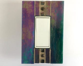 Iridescent Wall Plate, Purple Switch Plate, Gold Light Switch Cover, Blue Switchplate, Decora Light Switch Cover, Dimmer Cover Plate, 8598