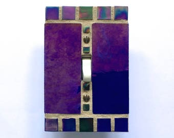 Blue Light Switch Plate, Decorative Switch Plate Covers, Mosaic Stained Glass, Iridescent Glass, Cobalt Blue, Wall Switch Plate, 8614