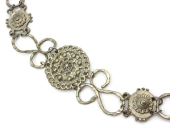 Silver Chain Belt - Silver Tone, Chain Link Belt, Tassel Belt, Medallions, Boho Belt