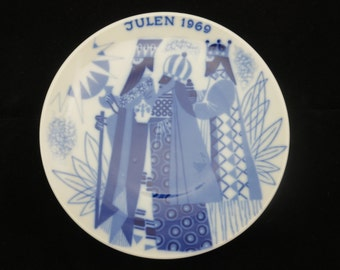 Three Wise Men Decorative Plate - 1969, Porsgrund, Norway, Blue and White Christmas Collector's Plate