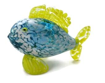 Art Glass Fish - Blue White Yellow Spatter Ocean Beach Decor Artist Signed Figurine