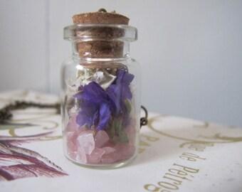 Rose Quartz Faerie Pixie Terrarium Necklace Flowers Gemstone