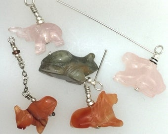 Stone Animal Charms Set in Sterling Silver
