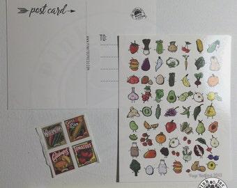 Vegetable Postcards: Pack of Five