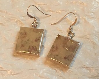 Scrabble Tile Earrings - Gold Trimmed Earrings - Scrabble Earrings - Teacher Gift Mothers Day Birthday Gift