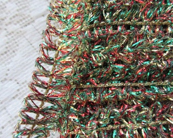 """2 Yards Vintage Metallic Trim Ribbon 7/16"""" Wide Red Gold Green Looped Tinsel Wired Old Store Stock"""