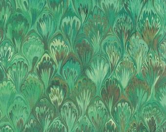Green Marbeled Feathers Print Italian Paper ~ Kartos Italy K162GR