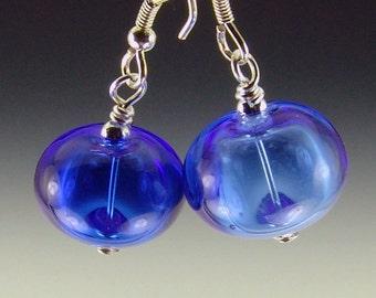 light or medium blue Hollow Lampwork Bead Earrings