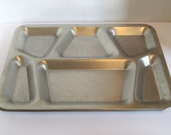 Vintage Stainless Steel USN Industrial Military Mess Hall Trays Cafeteria Divided Trays