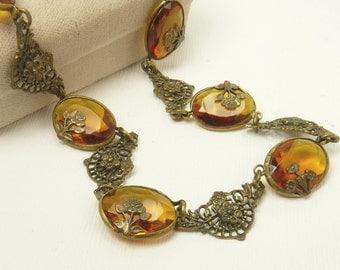 Vintage Art Deco Filigree Brass Necklace Faceted Amber Glass & Roses