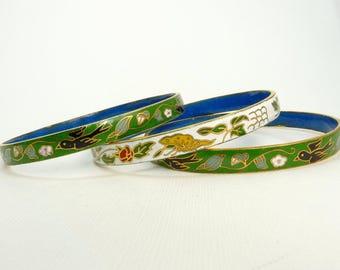 Vintage Cloisonne Bangle Bracelet Set Of 3 Stacking Bangles