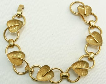 Vintage Krementz Gold Overlay Heart Bracelet