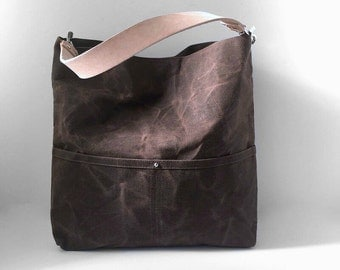 Handbag, Bucket Bag, Waxed Canvas Hobo Tote, Convertible Crossbody Bag