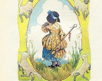 Vintage Child's Nursery Rhyme Print, Little Bo Peep Lost her Sheep, 1980 Bookplate Print, Mother Goose Print, Margaret Tarrant