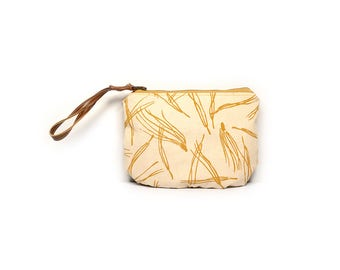 wristlet clutch • mustard yellow clutch • hand screenprinted canvas - mustard yellow pine needle print - zipper pouch - wrist strap pouch