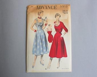 Vintage Sewing Pattern / 1950s Dress Pattern / Uncut FF Advance Sundress and Bolero Pattern bust 36 waist 30 large medium 18