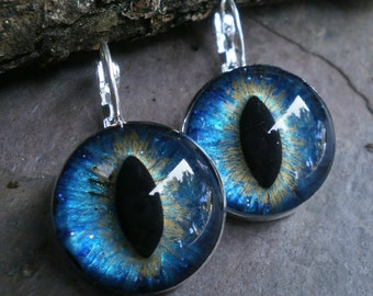 Gothic Steampunk Silver Deep Turquoise Blue Eye Lever Back Earrings in Silver Plate