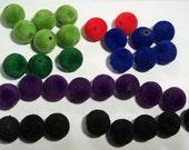 Lot of Velvet Beads 14mm round green blue red black purple