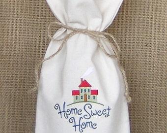 Wine Bag, Housewarming Gift, Home Sweet Home Wine Bag, Realtor Gift