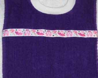 Terry Cloth Towel Baby Bib Purple with Ballerina Trim Handmade