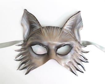 Wolf or Shepherd Dog Leather Mask grey brown black very lightweight yet sturdy