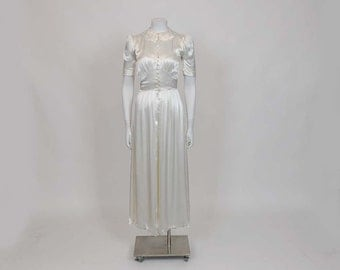 1930's Nightgown / Vintage 30's Peignor Set Nightgown with Matching Robe