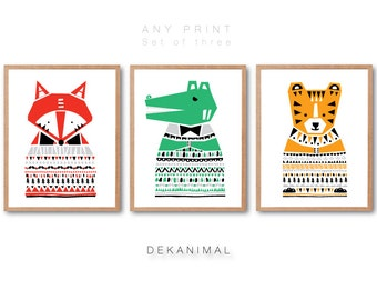 Kids room wall art, Fox, Alligator, Tiger illustration, Animal Print, ANIMAL PRINT SET, Animal illustration, Nursery room wall art