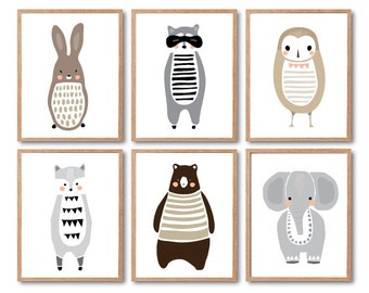 Nursery Room decor, Woodland Animal, Animal Print, Rabbit, Raccoon, Racoon, Wolf, Elephant, Owl, Brown Bear, Kids Room Decor, Baby Animal