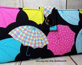 Umbrella Handmade Long Wallet BiFold Clutch - Vegan Wallet -  Umbrella wallet