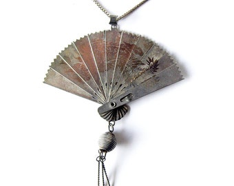 Vintage Folding Japanese Fan Necklace Two-Sided Design /  Sterling Silver Chain Italy