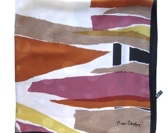 Vintage Pierre Cardin Scarf - Abstract Design Signed Scarf - Made in Italy - Copper Brown Orange and Black