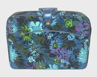 1960s suitcase / vintage 60s luggage / floral / Blue and Purple Floral Suitcase