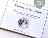 Phases of the Moon Cards - School Room Art, Home School Printable, Montessori, Educational Wall Art, Full Moon, Astronomy, Space