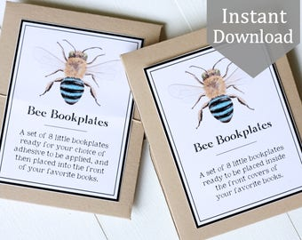 Bookplates, Printable - Native Bees - Ex Libris, School Supplies, Montessori, Educational, Insects, library, Nature Study
