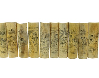 Old Japanese Shunga Bone Carved Erotic Panels, Full Set of Antique Kama Sutra Positions,  Signed by the Artist