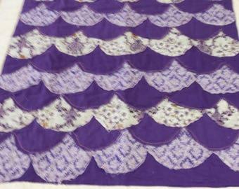 Purple scollop ragged baby quilt