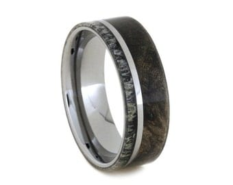 Mens Wood Ring With Deer Antler, Tungsten Wedding Band With Buckeye Burl Wood