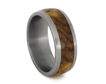 Titanium Ring With Black Ash Burl Inlay, Masculine Ring, Wood Wedding Band